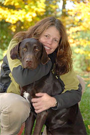 Judith Leclerc, DVM with her dog Moose